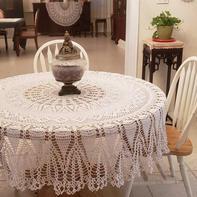 超美的复古风钩针蕾丝圆桌布