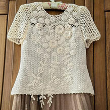 毛线球款改版女士钩针爱尔兰拼花蕾丝短袖衫