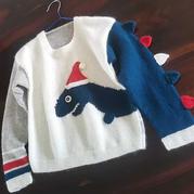 羊绒余线利用  欧美图解翻译款卡通造型肩开扣男童棒针毛衣