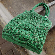 绿色手袋  复古风钩针阿兰风格手提包
