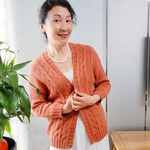 露华 简洁大方结构特别的女士棒针春秋开衫