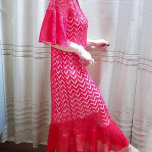 红蜻蜓 女士棒针镂空花荷叶边连衣裙