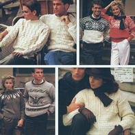 4组经典复古手工编织男女棒针套头毛衣