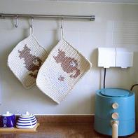 可爱实用云趣钩针猫咪锅垫餐垫杯垫