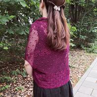 玫紫 简约经典女士钩针披肩式开衫