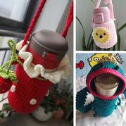 可爱有趣创意毛线编织钩针杯套3款