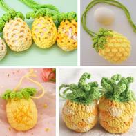 (4-4)四款不同造型的钩针菠萝蛋袋编织视频教程