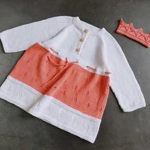 洛可可 喵夫人芒种儿童棒针领开扣插肩袖连衣裙