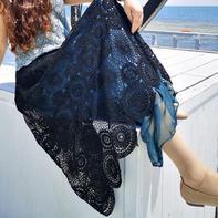 黑大饼 女士钩针圆形拼花蕾丝半身裙
