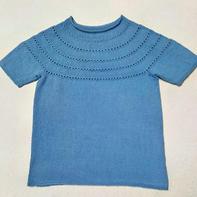 编织人生牦牛棉从上往下钩女士棒针短袖