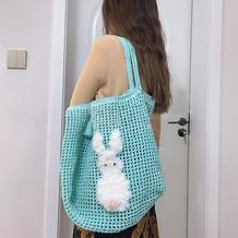 兔子图案女士钩针网格包包