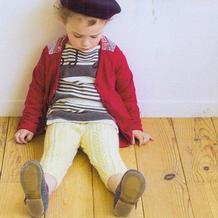 裤腿带花样的棒针宝宝长裤