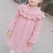 花仙子连衣裙 叶子花边装饰儿童棒针育克圆肩长袖连衣裙