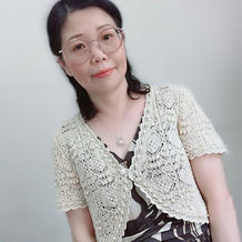 毛线球款夏季实用百搭女士棒针蕾丝短袖小开衫