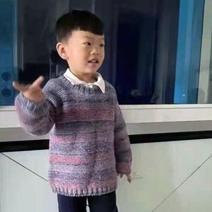 魔彩灰红蓝4岁左右男童棒针常规套头毛衣