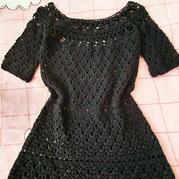 天黑黑 从领口向下钩女士钩针育克圆肩短袖连衣裙
