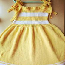 仿乐天款儿童棒针拼色吊带裙