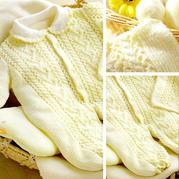 婴幼儿棒针翻领开扣爬服帽子套装编织图解(长袖连体衣+方形绒球帽)