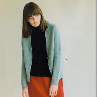 简约时尚从上往下织女士棒针V领开衫