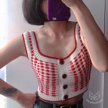 性感时尚女士钩针红白格子背心