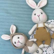娃娃家2.0可换装的钩针兔子一家