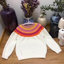 棉花糖安家 从领口向下织彩虹色儿童棒针圆肩毛衣