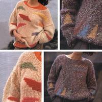 2款几何图案女士棒针落肩袖船形领套头毛衣