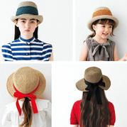 夏日清凉亲子款钩针棉草遮阳帽2组(宽条纹及后开口蝴蝶结装饰)