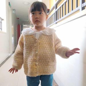 粗针粗线儿童钩针V领长袖开衫毛衣