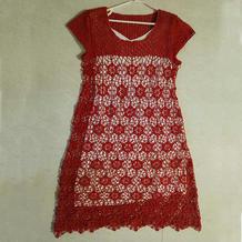 女士钩针蕾丝拼花短袖长裙
