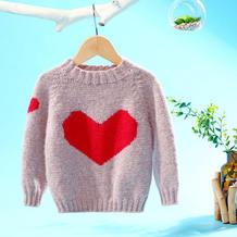 甜心(2-1)手工编织爱心图案儿童棒针圆领毛衣视频教程