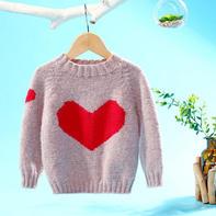 甜心(2-2)手工编织爱心图案儿童棒针圆领毛衣视频教程