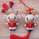 小牛車掛 創意手工編織牛牛吉祥如意掛件編織視頻教程