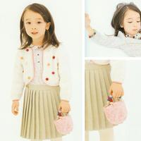 甜美可爱圆点图案女童棒针圆摆小开衫(含配套球球手提包、手链项链)