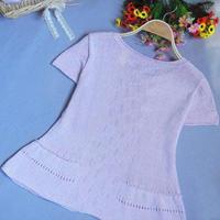 我爱棉麻沁心 亚麻棉线编织的短袖套头毛衣