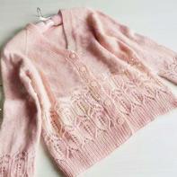 粉色真丝马海羊绒女士棒针V领长袖开衫