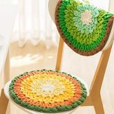 蓮花款坐墊(2-2)色調清新厚實舒適鉤針雙層坐墊編織視頻教程