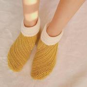 简约时尚钩针地板袜编织视频教程