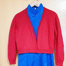 红岩 手工编织演出服女士棒针短打开衫