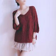 红袖  云素花染女士钩针六边形拼花套头衫