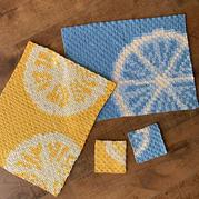 娃娃家2.0钩针夏日柠檬像素餐垫