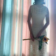 女士钩针白色蕾丝无袖连衣裙