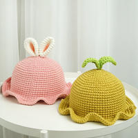 超萌的宝宝钩针兔耳朵萌芽帽 钩针编织宝宝帽视频教程