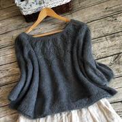 从上往下织女士棒针叶子花马海毛衣