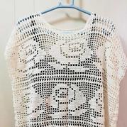 夏日白玫瑰 女士棒针玫瑰图案方格编套衫