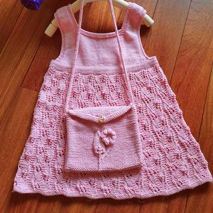 零线编织儿童棒针花朵小包包