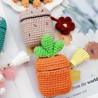 胡萝卜 小红花(5-5)创意毛线AirPods卡通保护套编织视频教程