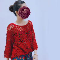 墨红玫瑰 云帛女士钩针绒花六边形拼花套头衫