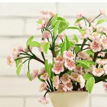 桃花(4-3)创意毛线钩针花卉系列编织视频