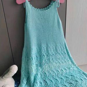 竹纤维女童棒针系带吊带裙